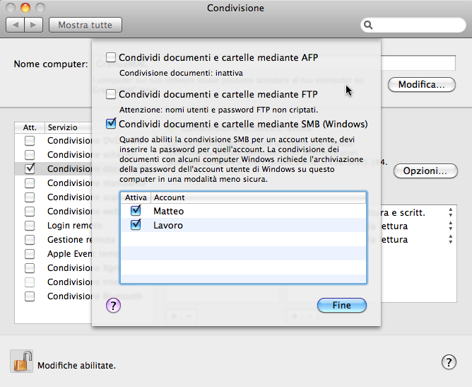 Schermata delle preferenze di condivisione su Mac