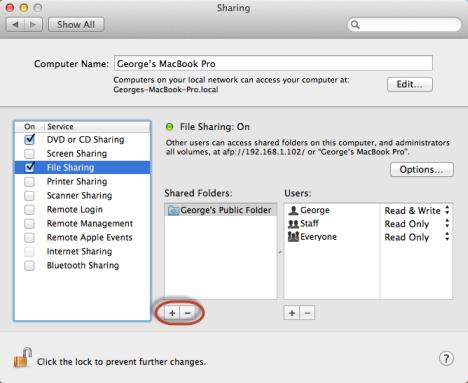 Schermata di condivisione delle cartelle sul Mac