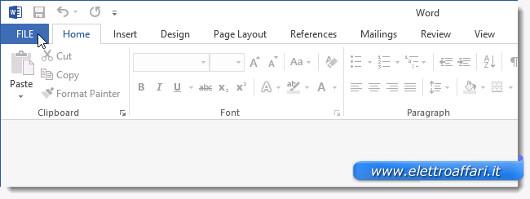 Schermata di Word 2013 per aprire il file PDF