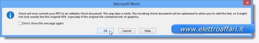 Schermata di un messaggio di avviso di Word