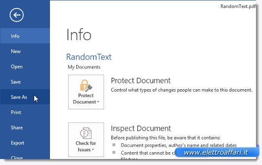 Schermata per salvare il file convertito