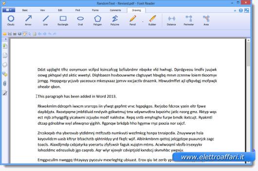 Schermata di apertura del nuovo file PDF