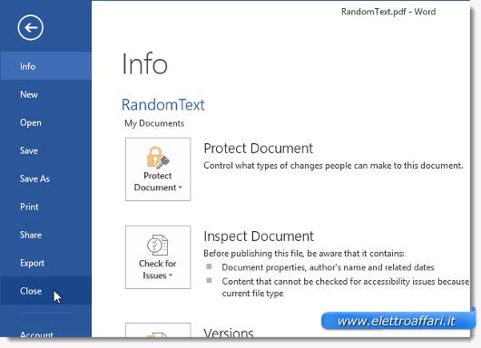 Schermata di chiusura del file PDF