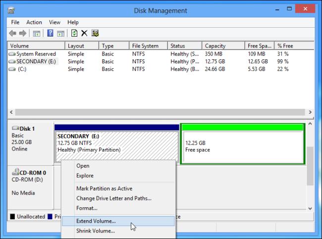 Schermata di Windows per l'eliminazione della partizione di Linux