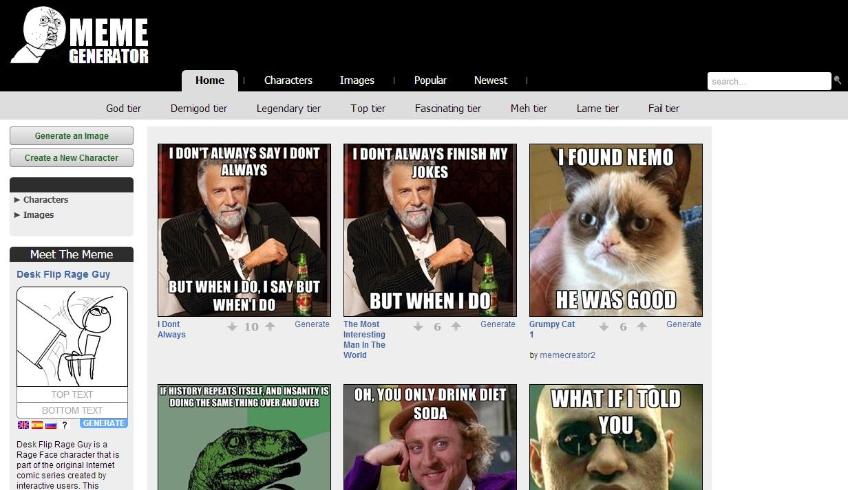 Immagine del sito Meme Generator