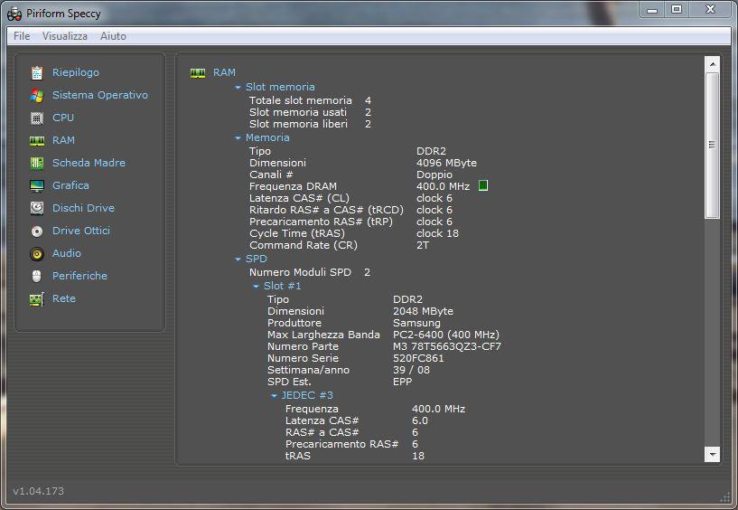 Interfaccia grafica del software Speccy