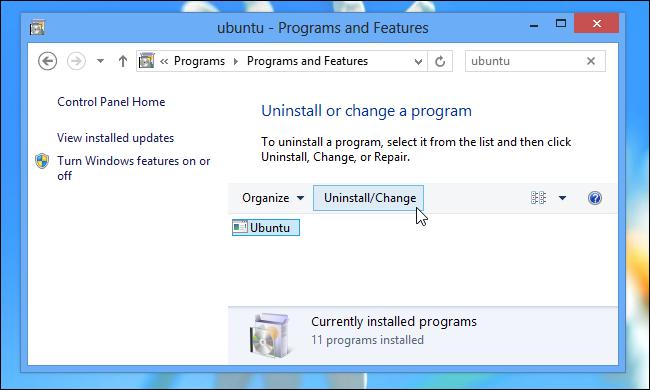 Schermata di disinstallazione di Linux attraverso Wubi