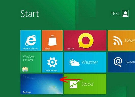 Immagine del desktop di Windows 8