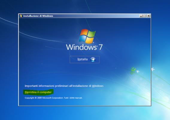 Schermata di ripristino di Windows