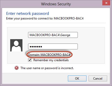 Schermata di accesso di Windows alla cartella condivisa sul Mac