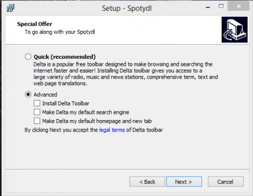 Schermata di installazione di Spotydl