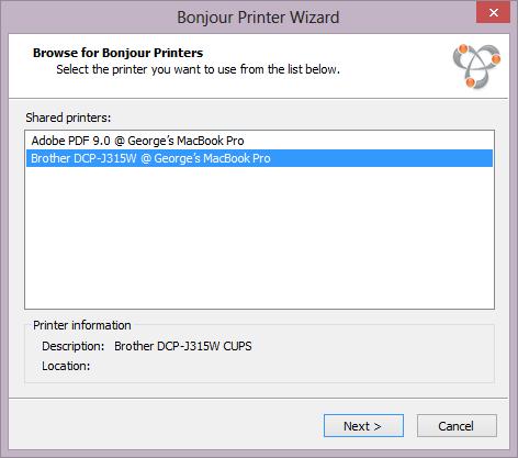 Schermata del Bonjour Printer Wizard per aggiungere una stampante