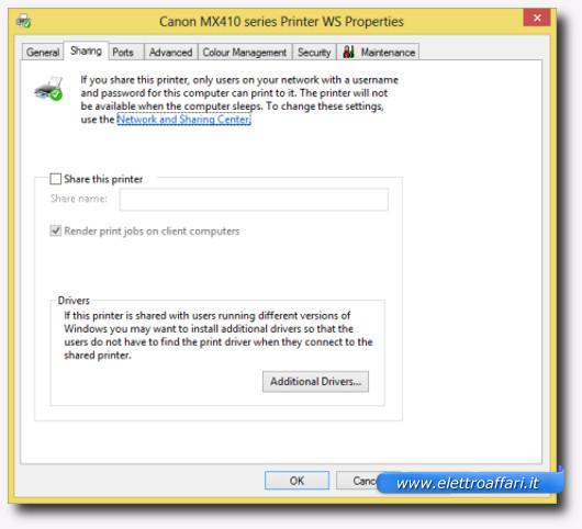 Schermata della scheda di condivisione della stampante