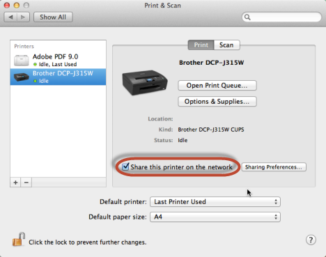 Schermata Stampa e Scanner del Mac