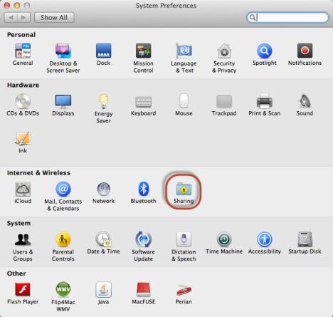 Schermata delle Preferenze di Sistema del Mac