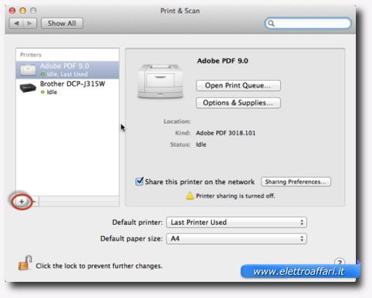 Schermata dell'elenco delle stampanti su Mac
