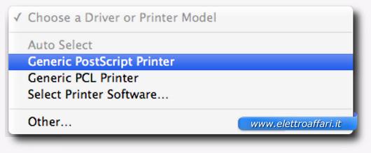 Schermata di selezione della stampante
