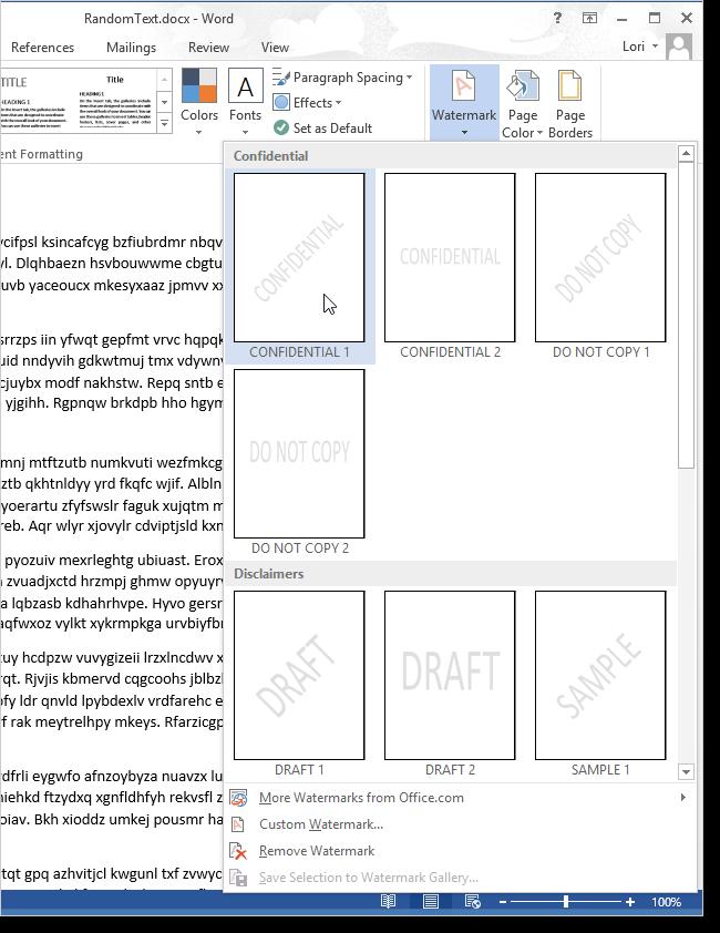 Pagina di Word 2013 con gli esempi dei watermark da poter inserire