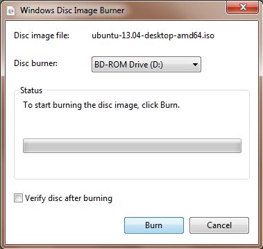 Finestra del masterizzatore delle immagini disco di Windows