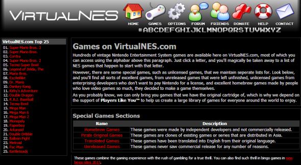 Immagine del sito VirtualNES.com