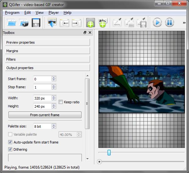 Interfaccia grafica del software QGifer