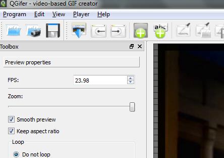 Schermata delle opzioni di QGifer