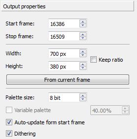 Schermata per la selezione dei frame di inizio e fine