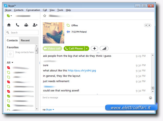 Interfaccia del software Skype