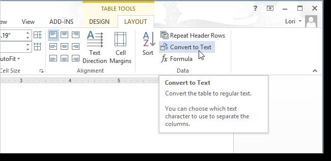 Selezione della voce Convertire tabella in testo