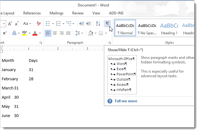 Immagine del semplice testo in un documento Word 2013