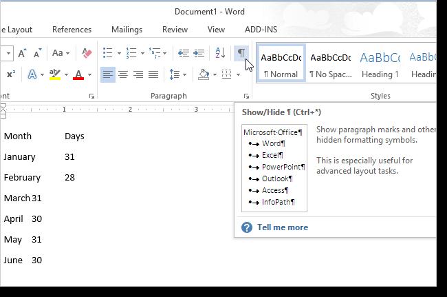 Immagine del semplice testo in un documento Word 2013