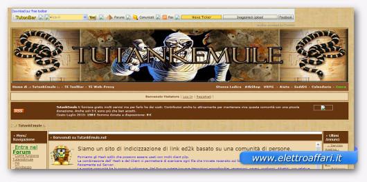 Interfaccia grafica del sito TutankeMule