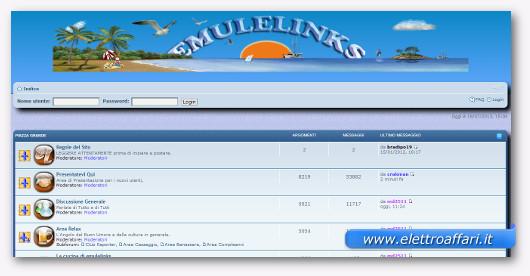 Interfaccia grafica del sito EmuleLinks