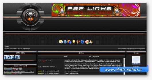Interfaccia grafica del sito P2PLinks