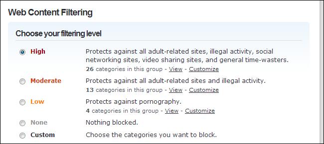 Schermata del router delle impostazioni del parental control