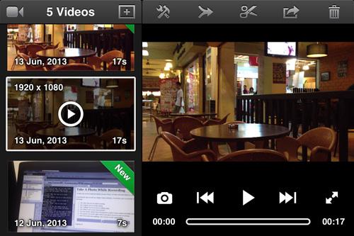 Schermata dell'applicazione per modificare i video