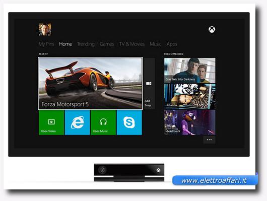 Immagine della dashboard della Xbox One