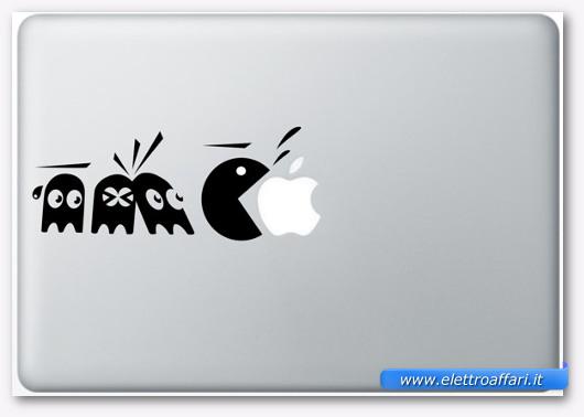 Immagine dell'adesivo Pac-Man per MacBook