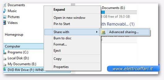 Condividere un CD o DVD su Windows 7 o 8