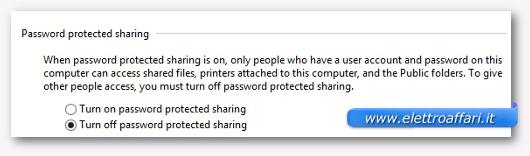 Schermata per disattivare la condivisione protetta da password