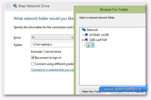 Schermata di connessione all'unità condivisa in rete
