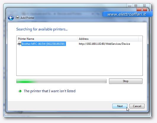 Schermata per aggiungere una stampante su Windows