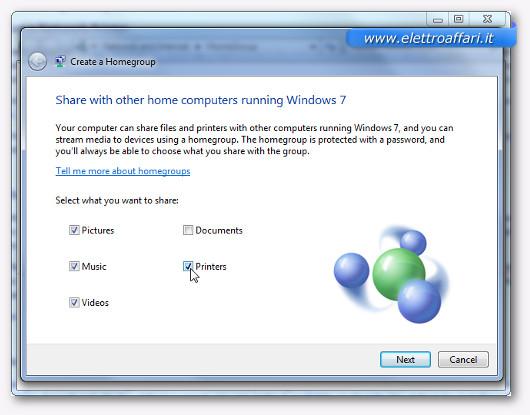 Schermata di condivisione della stampante su Windows 7