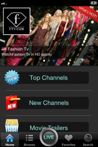 Schermata dell'applicazione Coolstreaming TV per Android