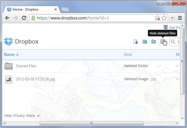 Schermata del cestino di Dropbox