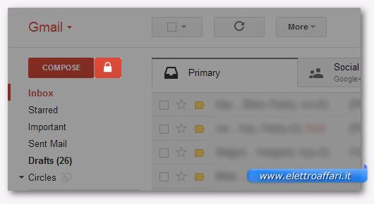 Schermata di Gmail