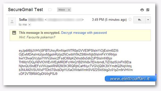 Immagine dell'email criptata