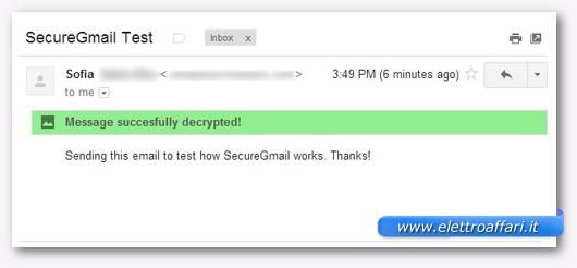 Schermata del messaggio decriptato