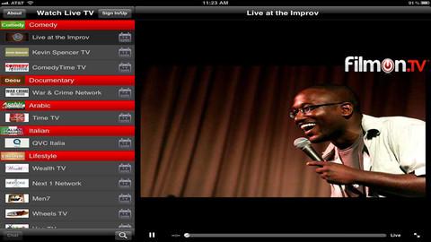 Schermata dell'applicazione Filmon per Android e iPhone