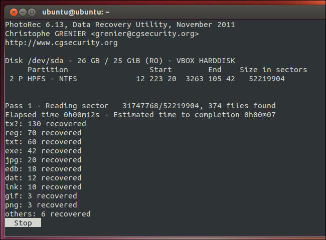 Schermata del funzionamento del live CD di Ubuntu